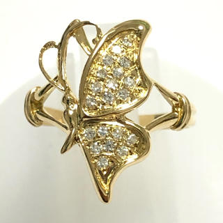 ちょうちょ 蝶 k18yg イエローゴールド ダイヤモンド リング 指輪