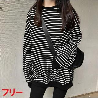 フリーサイズ オーバーサイズ ボーダーロングTシャツ 薄手 韓国で話題(Tシャツ(長袖/七分))