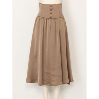 リリーブラウン(Lily Brown)のLily Brown♡フロントボタンサテンサテンスカート(ひざ丈スカート)