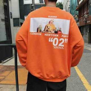 韓国ストリート バックガール オーバーサイズ パーカー トレーナー  オレンジ(スウェット)
