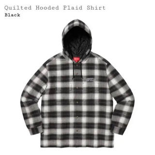 シュプリーム(Supreme)のSupreme/Quilted Hooded plaid Shirt   黒 M(シャツ)