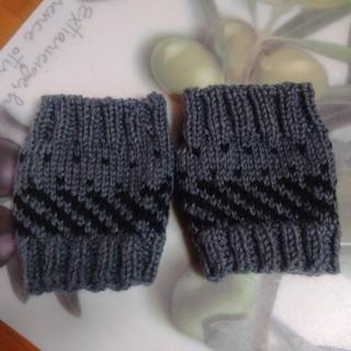 リストウォーマー。男女両用。手編み。値下げしました。(手袋)