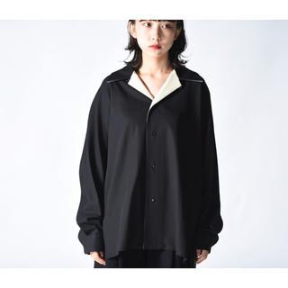 サンシー(SUNSEA)のETHOSENS ラペル切替開襟シャツ black(シャツ)