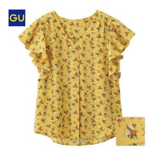 ジーユー(GU)のGU フラワープリントフリルスリーブブラウス(シャツ/ブラウス(半袖/袖なし))