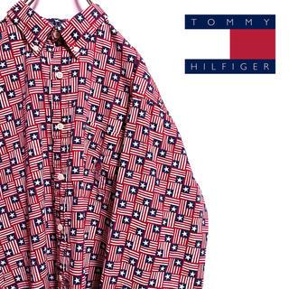 トミーヒルフィガー(TOMMY HILFIGER)の古着 90s トミーヒルフィガー シャツ 総柄 国旗柄 オールドトミー 旧タグ(シャツ)