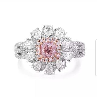 GIA♡Radiantカット ファンシーピンクパープルダイヤモンドリング(リング(指輪))