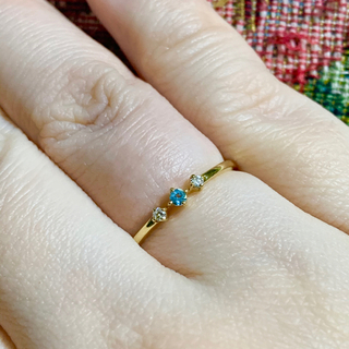 k18 ダイヤ ブルートパーズ  リング 9号(リング(指輪))