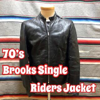 ブルックス(Brooks)の70's Brooks 刺繍タグ シングルライダース (ライダースジャケット)