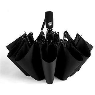 IVON 折りたたみ傘 メンズ ワンタッチ自動開閉 大きい ブラック カバー(日用品/生活雑貨)