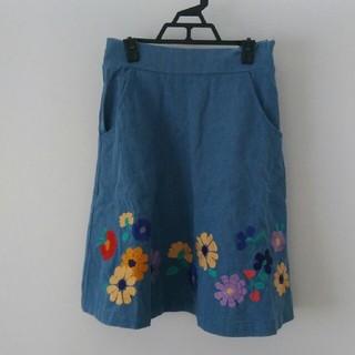 パラビオン(Par Avion)のデニム刺繍スカート(ひざ丈スカート)