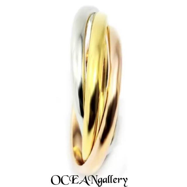 送料無料 9号 サージカルステンレス 三色三連リング 指輪 トリニティリング レディースのアクセサリー(リング(指輪))の商品写真