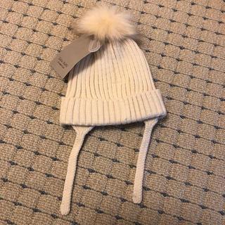 ザラキッズ(ZARA KIDS)のzara  baby  ニット帽 オフホワイト 6〜12mサイズ 新品未使用(帽子)