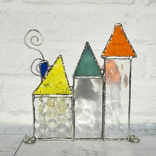 ステンドグラス*三角屋根の塔*メモスタンド*青い煙突(インテリア雑貨)
