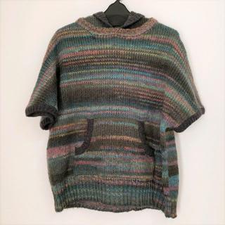 センソユニコ(Sensounico)のUSED センソユニコ Lucruca ルクルカ 重ね着用フード付半袖ニット(ニット/セーター)