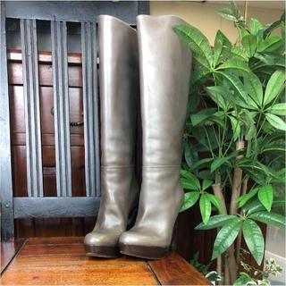 マルニ(Marni)のマルニ ブーツ ロングブーツ グレー レザー 23cm 189625(ブーティ)
