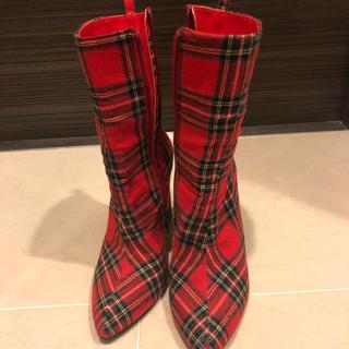 イエローブーツ(Yellow boots)の赤チェック派手ブーツ(ブーツ)
