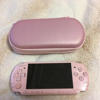 プレイステーション(PlayStation)のPSP ピンク ケース付き(携帯用ゲーム機本体)