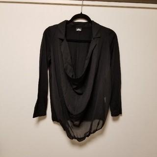 SWEET ROUGE◆異素材シフォンドレープ長袖シャツ黒M(シャツ/ブラウス(長袖/七分))