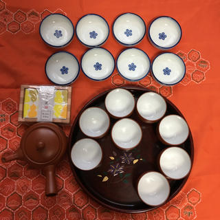 新品 常滑焼 弘洋 急須・湯呑み・小皿・お盆・布巾セット(食器)