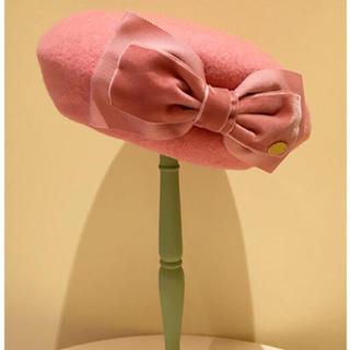 ルルゲッタ(Leur Getter)のダブルリボン付きベレー(ピンク)(ハンチング/ベレー帽)