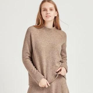 ユニクロ(UNIQLO)のUNIQLO スフレヤーンモックネックセーター ベージュS (ニット/セーター)