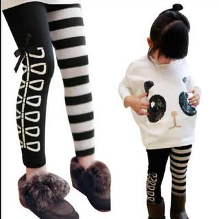 ボーダーリボンレギンス 韓国子供服 キッズレギンス デザインスパッツ(パンツ/スパッツ)