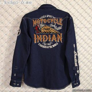 インディアン(Indian)のインディアンモトサイクル 長袖 カットライクデニムシャツ  刺繍 ワッペン  L(シャツ)