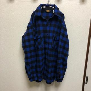 ウールリッチ(WOOLRICH)の美品 70s USA製 Woolrich ブロックチェック ウールシャツ L(シャツ)