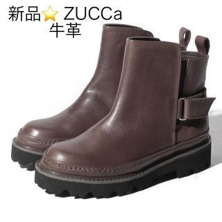 ズッカ(ZUCCa)の新品 定価56100円 ZUCCa 牛革ブーツ ブラウン S、L 大特価‼️(ブーツ)