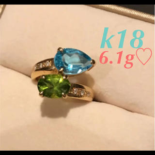 k18 大粒❤︎ペリドット &ブルートパーズ 瑞々しい緑と水のリング♡(リング(指輪))