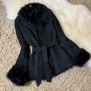 ピンキーアンドダイアン(Pinky&Dianne)の美品 ピンキー&ダイアン イタリア製 リアルムートンコート 黒(毛皮/ファーコート)