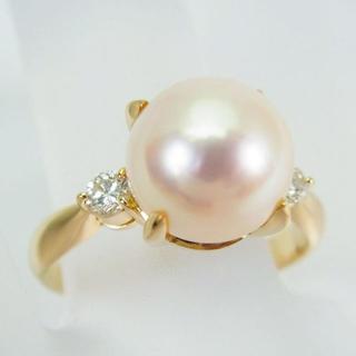 K18 天然アコヤ真珠(パール)ダイヤモンド リング 12号[g120-9](リング(指輪))