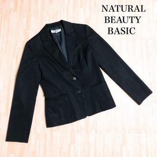 ナチュラルビューティーベーシック(NATURAL BEAUTY BASIC)のNATURAL BEAUTY BASIC ジャケット 黒 M お仕事 オフィス(テーラードジャケット)