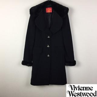 ヴィヴィアンウエストウッド(Vivienne Westwood)の美品 ヴィヴィアンウエストウッドレッドレーベル チェスターコート ブラック(チェスターコート)