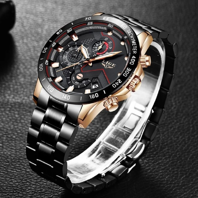 海外 時計 メーカー 、 腕時計 LIGE メンズ クロノグラフ 防水 ブラックの通販 by なおやや's shop