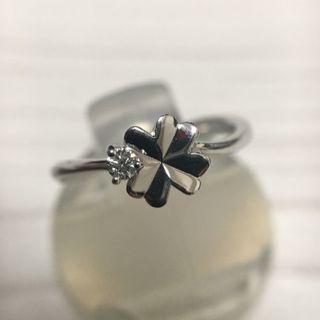 年末セール☆ ダイヤモンド0.03ct クローバーデザイン 3号 K10WG(リング(指輪))