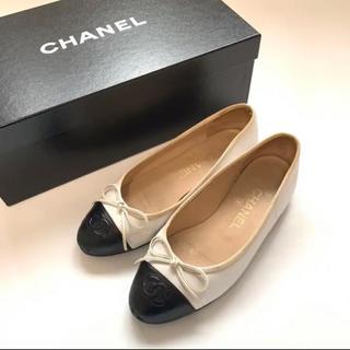 CHANEL - CHANEL シャネル ツートン 本革 レザー フラットシューズ レディース 靴