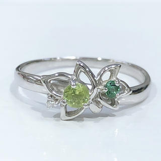 K18WG ペリドット ダイヤモンド リング(リング(指輪))