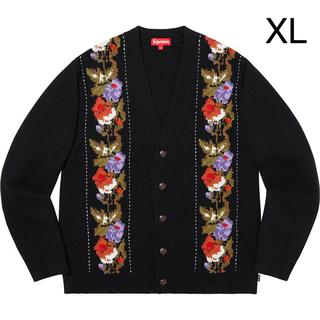 シュプリーム(Supreme)のSupreme Floral Stripe Cardigan  Black XL(カーディガン)