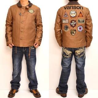 バンソン(VANSON)のバンソン VANSON N-1 デッキジャケット キャメル色 ワッペン 刺繍(ブルゾン)