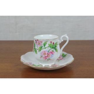 ロイヤルアルバート(ROYAL ALBERT)のロイヤルアルバート デュオ デミ ティーカップ 花柄 ヴィンテージ イギリス(食器)