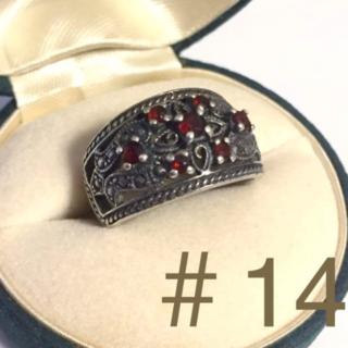 約14号 赤い石 ゴシック アンティークなリング(リング(指輪))