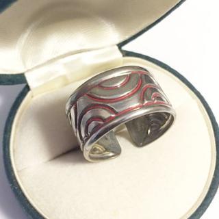 約15号(調節可)赤い波紋模様のリング(リング(指輪))