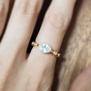 ホワイトサファイア*ゴールドリング  Tiffany好きに❇(リング(指輪))