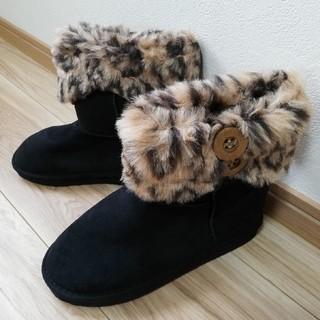 【新品未使用】ヒョウ柄ファームートンブーツ 黒(ブラック)38(21cm前後) (ブーツ)