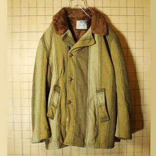 60s 70s ウールジャケットLグリーン ストライプ ボア USA製 aw92(カバーオール)