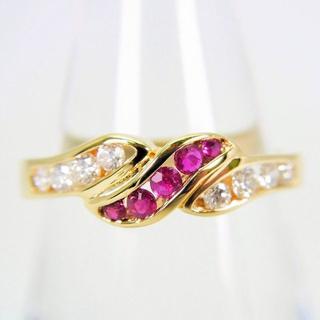 K18 ルビー ダイヤモンド リング 12号[g122-2](リング(指輪))
