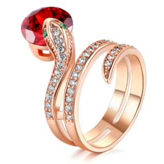 宝石をくわえた蛇 ヘビ スネーク キラキラ レッド リング 指輪 11号(リング(指輪))