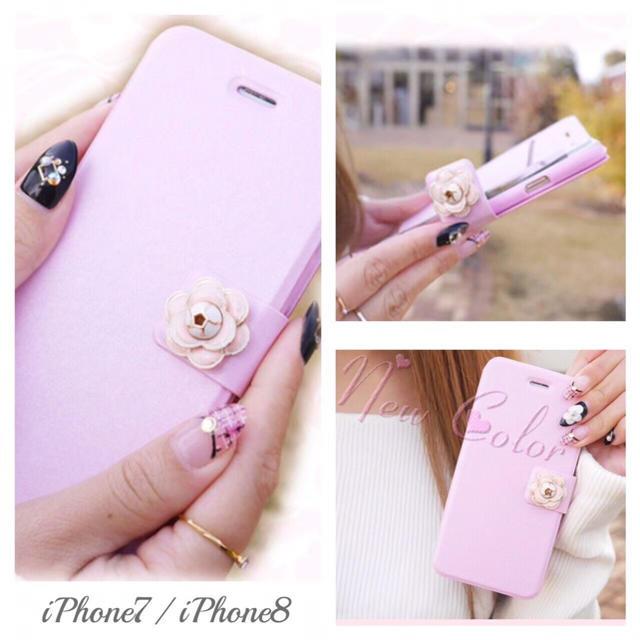 iPhone7 iPhone8 春色 カメリア 手帳型 iPhoneケースの通販