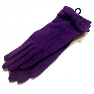 シビラ(Sybilla)の新品 リボン ナイロン ウール ニット手袋 ネイビーブルー パープル在庫あり。(手袋)